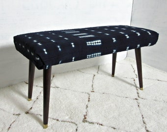 Indigo Mudcloth Bench / Mud Cloth Ottoman Global Textile Navy Blue White African Modern Dining Bench Coffee Table MCM Chair Stool Dyed Pouf