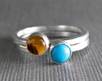 Birthstone Stacking Rings - Sterling Silver & 5mm stones - Two Rings