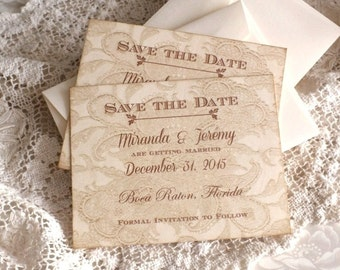 Vintage Lace Background Save the Date Cards Handmade by avintageobsession on etsy