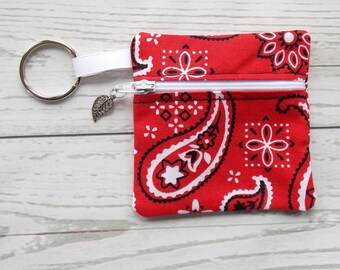 Red Bandana Ear Bud Case - Ear Bud Holder - Earphone Case - Bandana Coin Purse - Red Bandana Gift