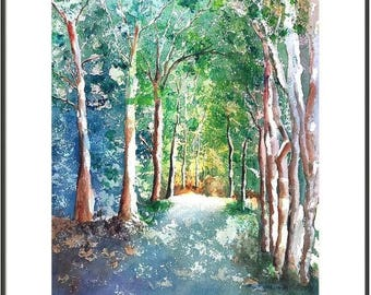 Tree Painting, LARGE Watercolor 22x30, Original Landscape Painting, Oak Tree tunnel, forest, rustic home decor, blue, green, nature wall art