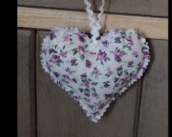 Heart hanging shabby Pink/Purple floral fabric