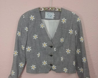 Vintage Cropped Daisy Blazer // Daisy Jacket // Vintage Floral Lady Blazer // Made in USA // Vintage Jacket // Micro Houndstooth Jacket //