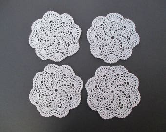 "Crochet Doily Coasters- Silver Grey Elegant & Lacy-5"" Diameter (4)"