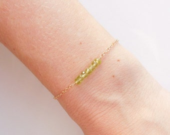 Green Peridot Layered Bracelet in Gold - August Birthstone