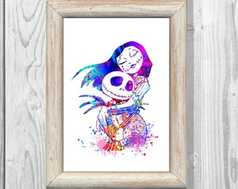 Nightmare Before Christmas Poster Watercolor Print Jack and Sally Print Giclee Wall Illustrations Art Print 8x10 Wall Decor Home Decor No217