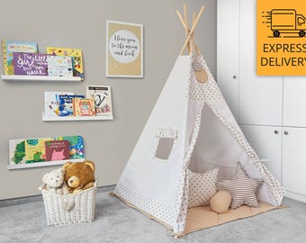 Tipi Set - Kids Play Tent Teepee - Ginger Cookie