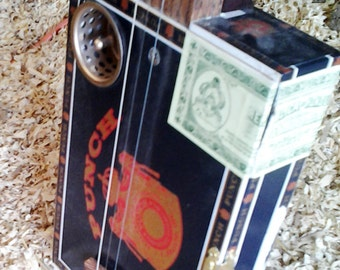 Cigar Box Guitar - 3 String - Primitive Electric or Acoustic