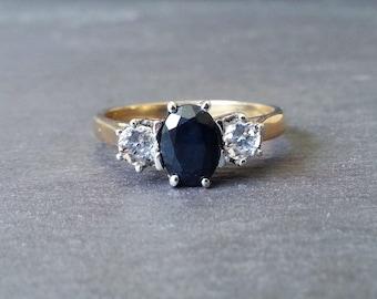 Vintage Sapphire Engagement Ring, Diamond Ring, Engagement Ring, Gold Sapphire & Diamond Ring, Vintage Wedding Jewelry, Wedding Band