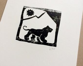 TIGER jungle animal - Digital printable art - design from Linoleum Art Print
