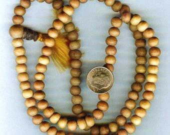 108pc Genuine Fragrant Sandalwood Mala Prayer Bead Necklace 8mm