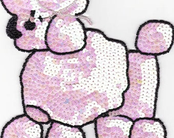 "7.5"" x 5.5"" poodle dog animal sequin applique funky fun fashion design"