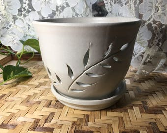 Handmade Orchid Pot in White Stoneware