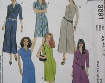 UNCUT  Misses / Miss Petite Shirt-Dress in Two Lengths - Size 6, 8, 10, 12 - McCalls Pattern 3691