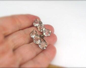 Vintage Crystal Earrings, Silver Earrings, Screw On Earrings, Vintage Sterling Silver, Wedding Earrings, Vintage Wedding Jewelry