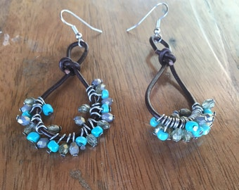 Turquoise Earrings,  Boho Earrings, Southwestern Jewelry, Leather Rope, Dangle Earrings, Long Earrings, Trendy Jewelry, Brown and Turquoise