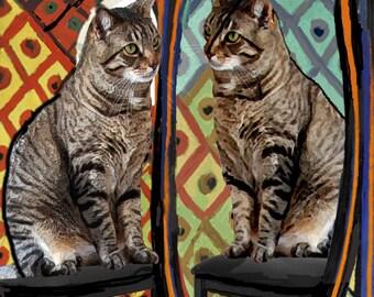 Cat Lover Gift, Cat Art Print, Housewarming, Pablo Picasso Parody, Whimsical Print, Cat Wall Art, Deborah Julian