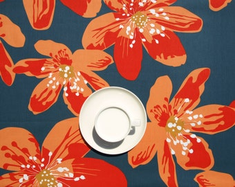 Tablecloth blue grey orange large anemone flowers Floral Scandinavian Design , also napkins , runner , pillows available, great GIFT