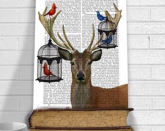 Deer and Bird Cages, Deer Illustration Wall Art Wall Decor Deer Print Giclee Print Acrylic Painting Wildflife Print