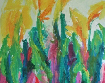 Canna Gulch GICLEE ART PRINT 11 x 17 abstract floral gardens orange yellow acid green pink
