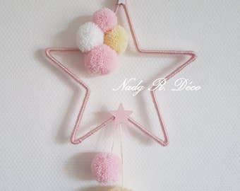 Star and tassels hanging - dream catcher - pink, white and yellow - craft.
