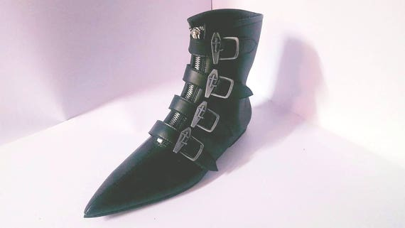 Goth Pikes  X4 Coffin Buckles Winklepickers Boots Gothic Batcave New Wave Siouxsie 80s  Leather , Vegan Unisex by Etsy