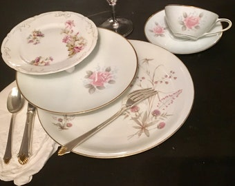 Vintage, Mismatched 5 piece Place Setting for, weddings, tea parties, dinner parties, bridal , baby showers, hostess, bridesmaid gifts 6013