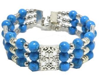 Ladies Beautiful Silver 3 Layered Turquoise Tibetan Beaded Bracelets.