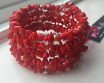Bold Red Howlite Bead Chip Wrap Bracelet