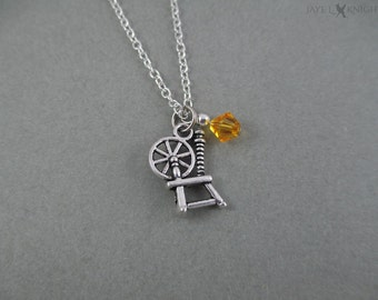 Rumplestiltskin Sleeping Beauty rouet Charm Necklace - M. or - Once Upon a Time - breloque en argent