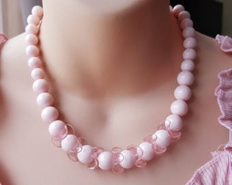 Vintage Baby Pink Plastic Beaded Necklace