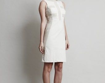 Coco Dress - Off-white Two-Tone Neutral dress, Above knee, Natural and Crisp Colours