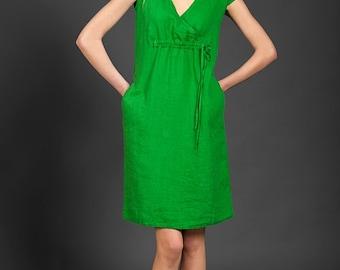 Green linen dress, midi, linen dresses, green dress, summer dress, summer clothing, linen tunic, summer fashion, linen clothes, pure linen