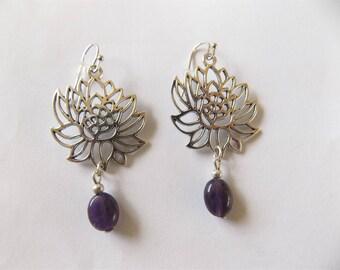 Amethyst and lotus flowers earrings