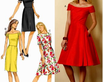 Sewing Pattern Misses' Dress Pattern, Flared Dress Pattern, Straight Dress Pattern, Butterick Sewing Pattern 6129