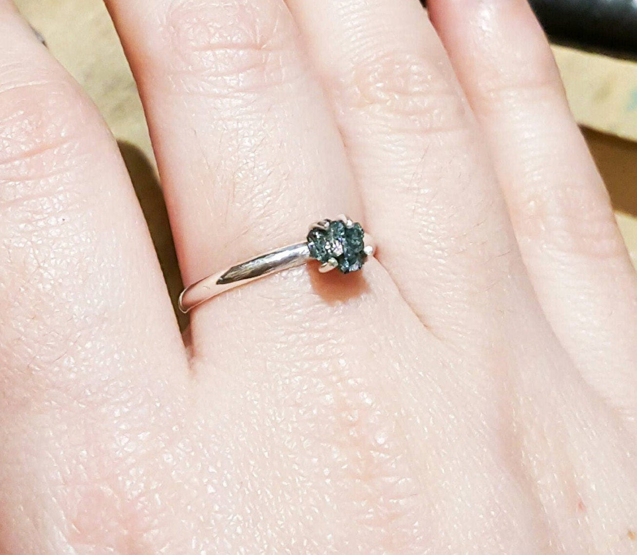 Raw Blue Diamond Silver Ring Genuine Solitaire Dainty Diamond