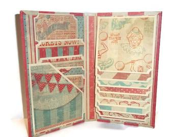 Vintage circus inspired waterfall folio mini album, brag book, photo holder