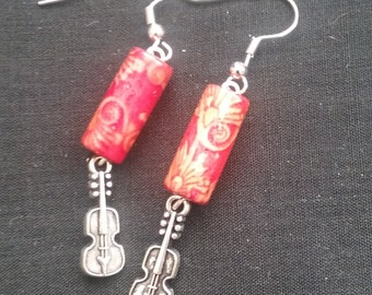 Beaded Violin Earrings, Musical Instrument Jewelry, Violin Earrings, Beaded Jewelry, Violin Jewelry