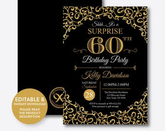 Instant Download, Editable Surprise Birthday Invitation, Adult Birthday Invitation, Gold and Black Birthday Invitation, Gold Glitter(SAB.02)