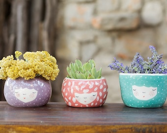 Set of 3 Ceramic Planters - ceramic pot - ceramic planter - ice cream bowl - kitchenware - dessert dish - succulent planter - MADE TO ORDER