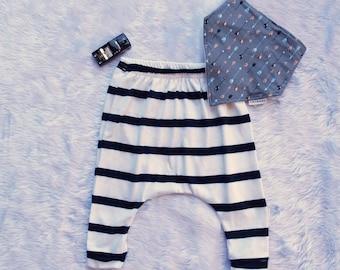 Baby boys pants, Baby boys harem pants, boys pants, Blue stripe print, baby pants size 3 months, size 6 months