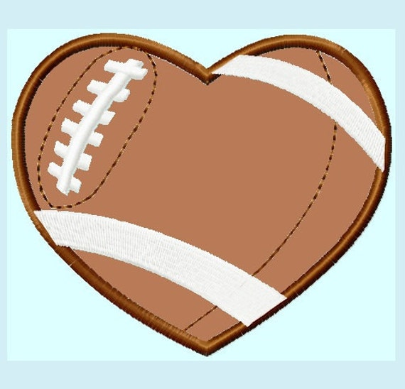 Football Heart Applique Embroidery Designs 7 Sizes Hoops