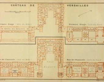1913 Vintage Map of Château de Versailles Paris, France, Excellent Condition!