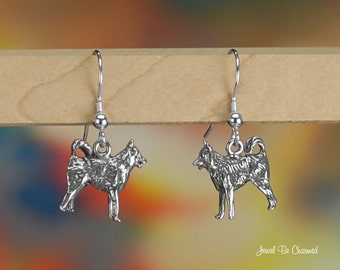 Malamute Elkhound or Samoyed Earrings Sterling Silver Pierced Earwires