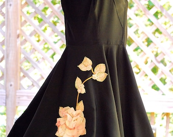Vintage RARE 1950s 50s Pinup Bombshell Vixen Rhinestone Applique Pink Flower Party Formal Black Halter Dress Gown Full Skirt VLV Rockabilly