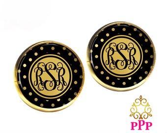 Monogram Earrings, Black Gold Stud Earrings, Personalized Earrings, Monogram Jewelry (536)