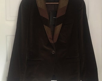 Dolce & Gabbana Brown Patchwork Blazer Jacket Size 44