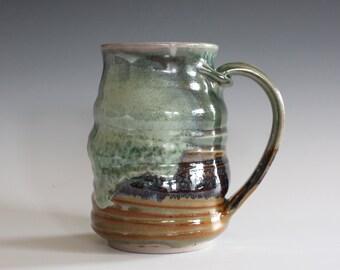 Pottery Mug, 13 oz, handthrown ceramic mug, stoneware pottery mug, unique coffee mug