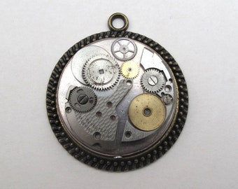 Steampunk style watch pendant, bronze vintage pendant
