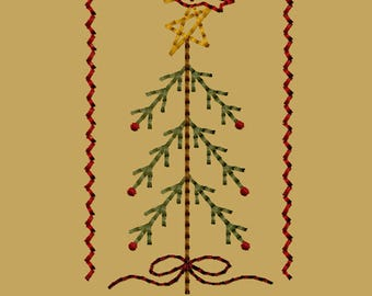 MACHINE EMBROIDERY-Stick Tree with Bird-4x4-Instant Download